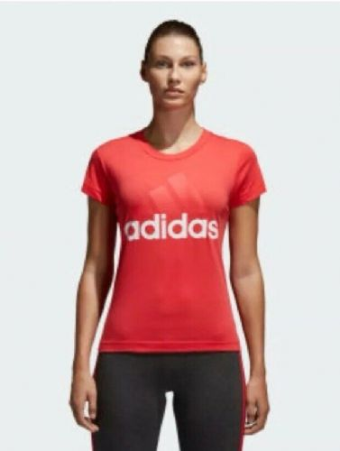 adidas Essentials Linear Slim Fit T-shirt Tee Coral Brand New with Tags CF8822